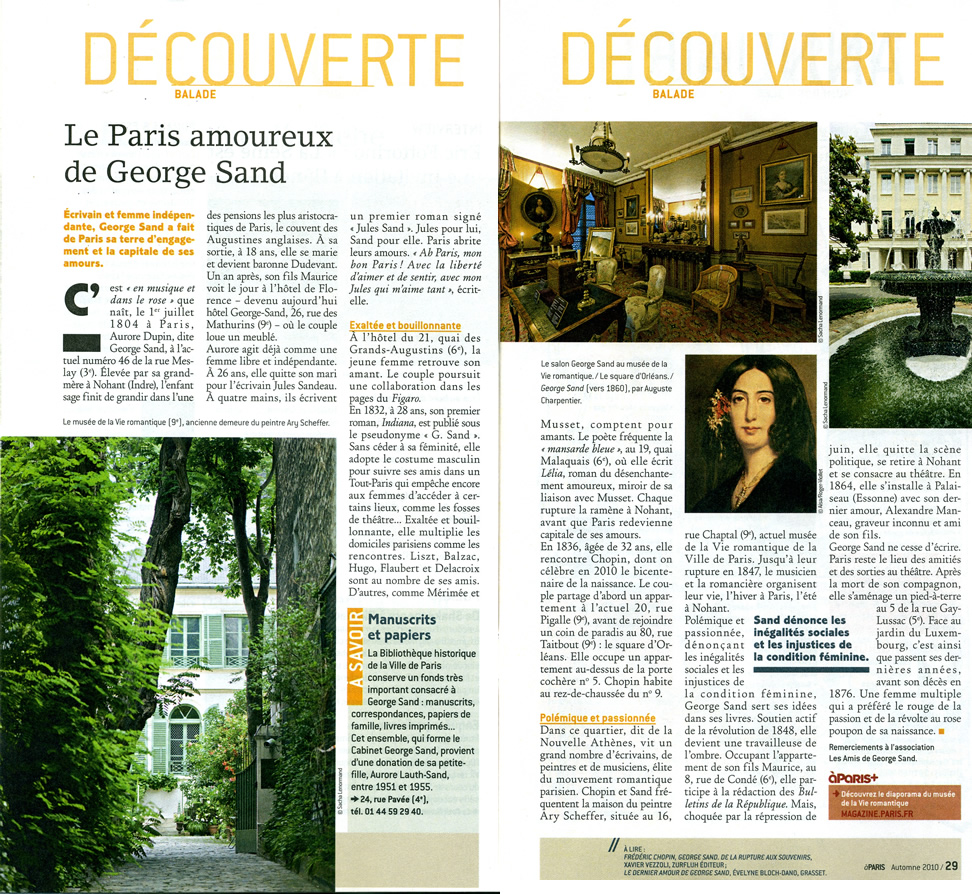 Le Paris amoureux de George Sand